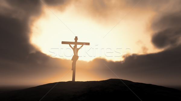 Silhouette of Jesus with Cross  Stock photo © orla