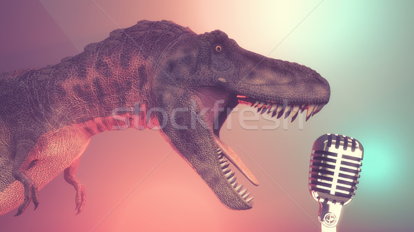 Dinosaur with a microphone old Stock photo © orla