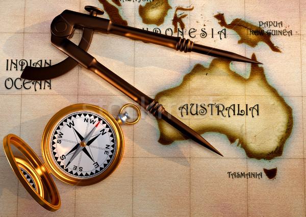 Oude kaart kompas oude tekening tonen Australië Stockfoto © orla