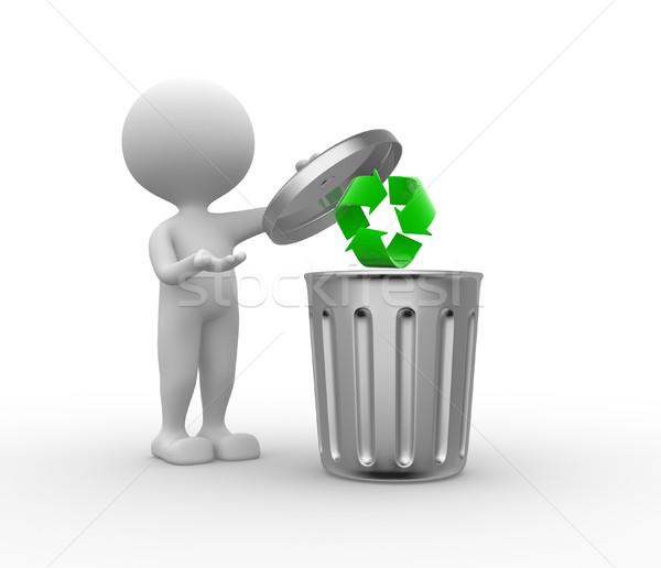 мусорное ведро рециркуляции знак 3d люди человека человек Сток-фото © orla
