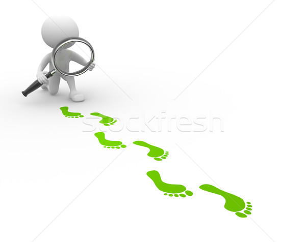 Magnifying glass and footprints  Stock photo © orla