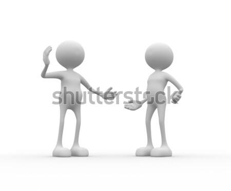 Zły 3d osób mężczyzn osoby pojednanie spotkanie Zdjęcia stock © orla