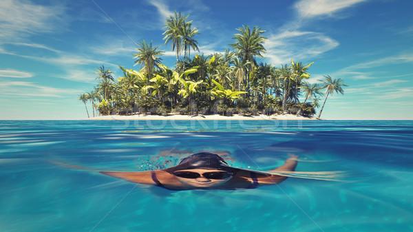Тропический остров женщину плаванию подводного океана воды Сток-фото © orla