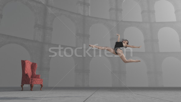 Ginnasta salto colonne rendering 3d illustrazione ragazza Foto d'archivio © orla