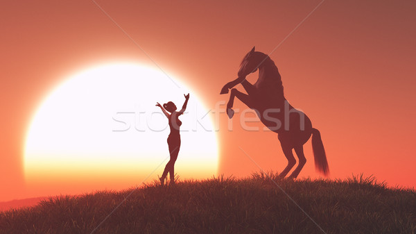 Woman and horse Stock photo © orla