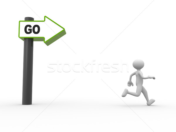 3d people - man, person with directional sign and word 'GO' Stock photo © orla