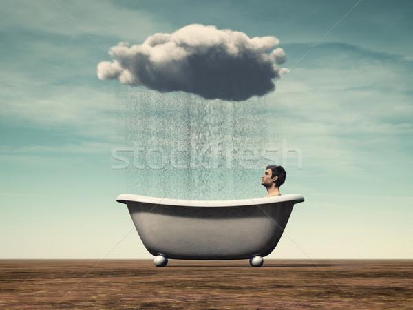 Kişisel adam oturma banyo yağmur bulut Stok fotoğraf © orla