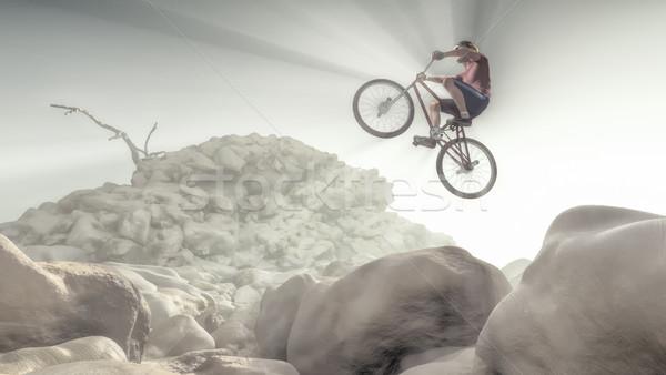 Bisikletçi tırmanma kaya dağ 3d render Stok fotoğraf © orla