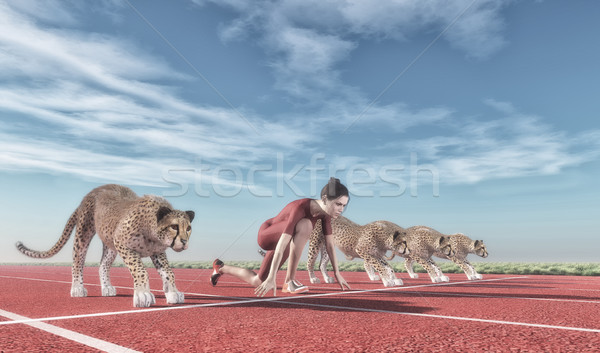 Athletic woman with a cheetah  Stock photo © orla