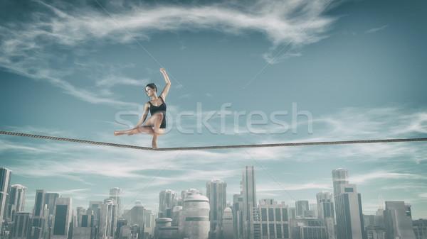 гимнаст туго натянутый канат город веревку 3d визуализации Сток-фото © orla