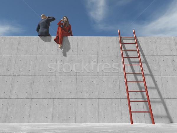 Jóvenes empresario nina mirar horizonte Foto stock © orla