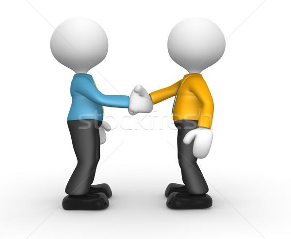 Foto stock: Empresários · 3d · pessoas · homem · pessoa · amigável · aperto · de · mão