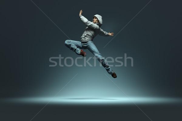 Hip hop danser springen dans 3d render Stockfoto © orla