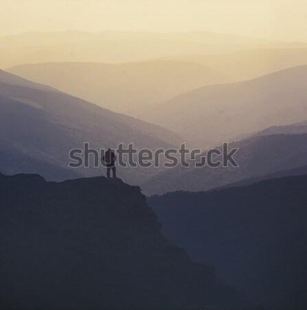 ハイカー 先頭 山 岩 だけ 人 ストックフォト © orla