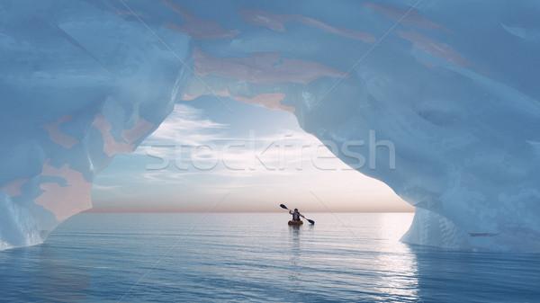 арки айсберг человека небольшой лодка лук Сток-фото © orla