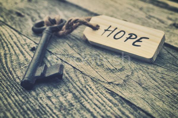 Speranza chiave etichetta successo acciaio anello Foto d'archivio © orla