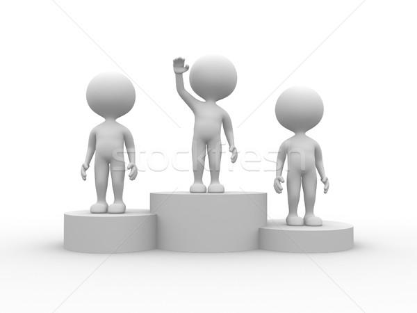 Podium winnaar 3d mensen mannen persoon zakenman Stockfoto © orla