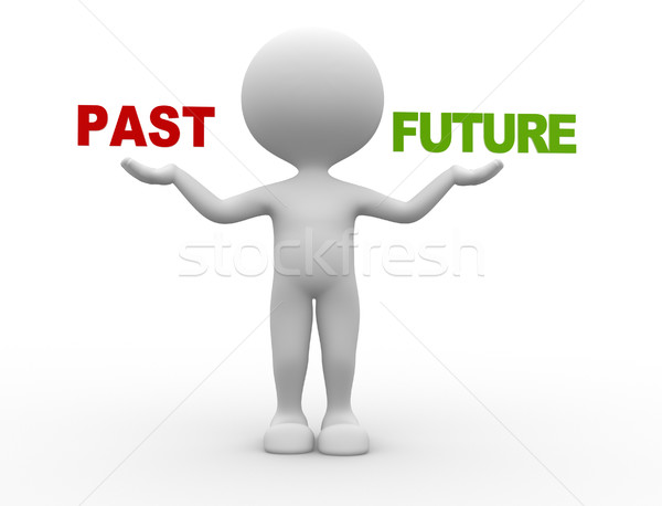 Pasado futuro 3d personas hombre persona palabras Foto stock © orla