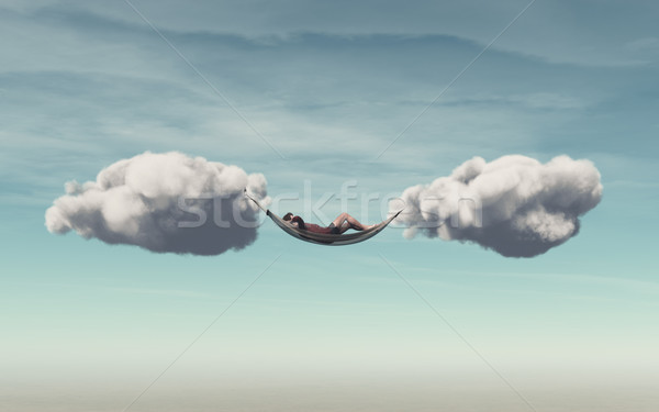 Young man relaxes in a hammock Stock photo © orla