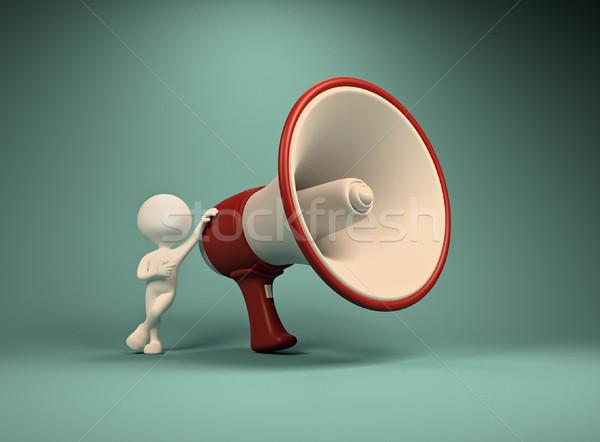 Zdjęcia stock: Duży · megafon · 3d · osób · człowiek · osoby · telefonu