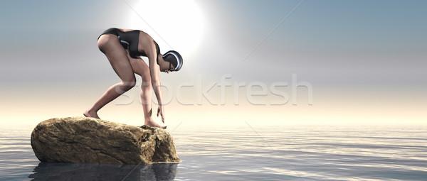 Fiatal úszó kezdet pozició kék tenger Stock fotó © orla