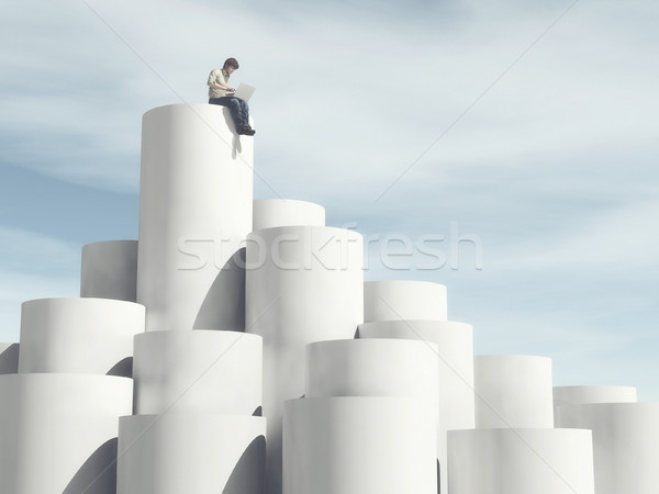 Férfi áll felfelé henger ül felső Stock fotó © orla