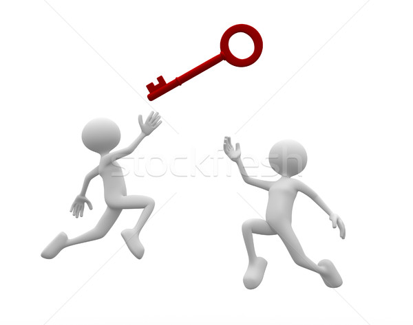 Stockfoto: Oplossing · 3d · mensen · mannen · persoon · vechten · sleutel
