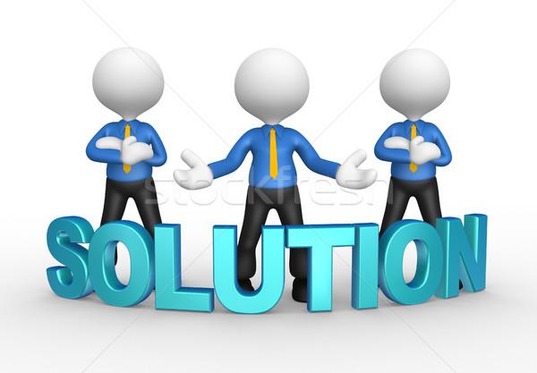 Zakenlieden 3d mensen mannen persoon woord oplossing Stockfoto © orla