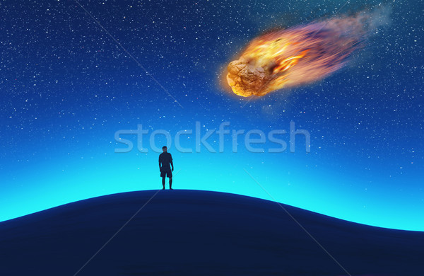 Traveler sitting and looking at the starry sky.  Stock photo © orla