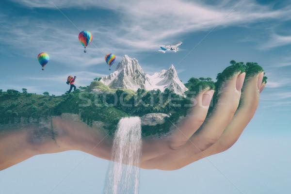 Conceptual image of a mountain landscape Stock photo © orla