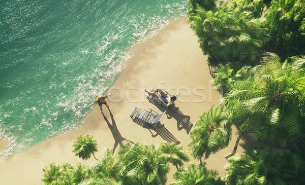 рай Тропический остров Top мнение пару солнечные ванны Сток-фото © orla