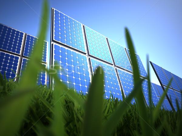 Zonnepaneel gras 3d render illustratie Blauw cel Stockfoto © orla