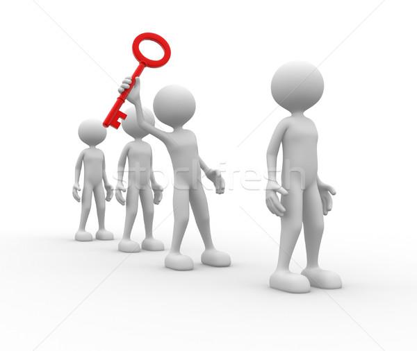 Kluczowych 3d osób człowiek osoby czerwony biznesmen Zdjęcia stock © orla