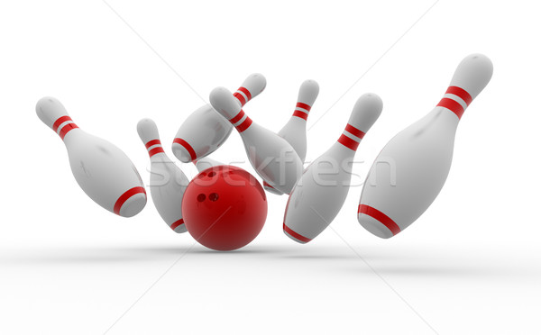 Bowling ball crashing into the pins  Stock photo © orla