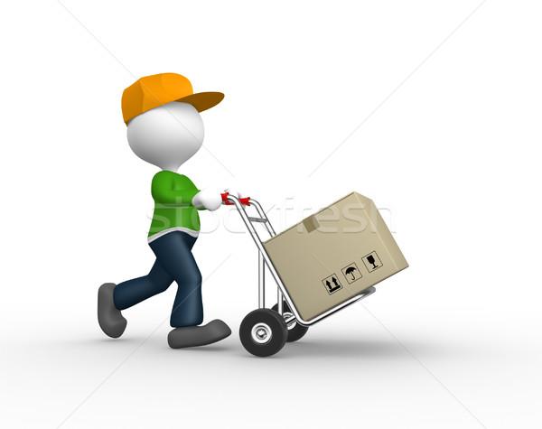 Postbode 3d mensen man persoon hand vrachtwagen Stockfoto © orla