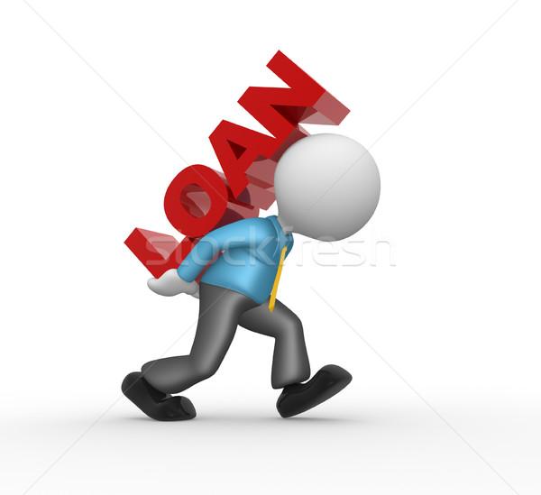 Kölcsön 3d emberek férfi személy szó számítógép Stock fotó © orla