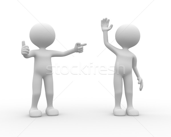 3d people - man, person praises his workmate.  Stock photo © orla