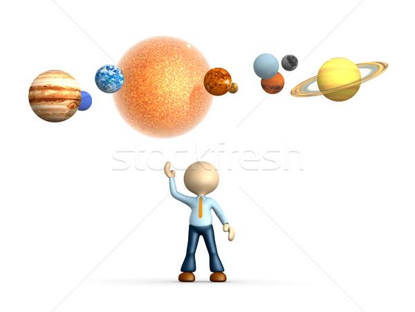Sistemul solar oameni 3d om persoană soare proiect Imagine de stoc © orla