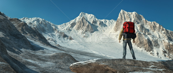 A man climbing up the mountain Stock photo © orla