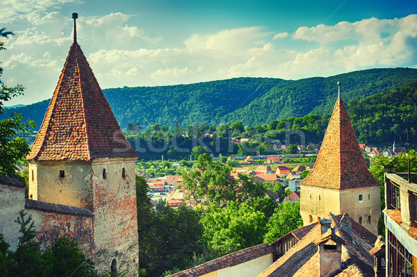 View from the Sighisoara fortress Stock photo © orla
