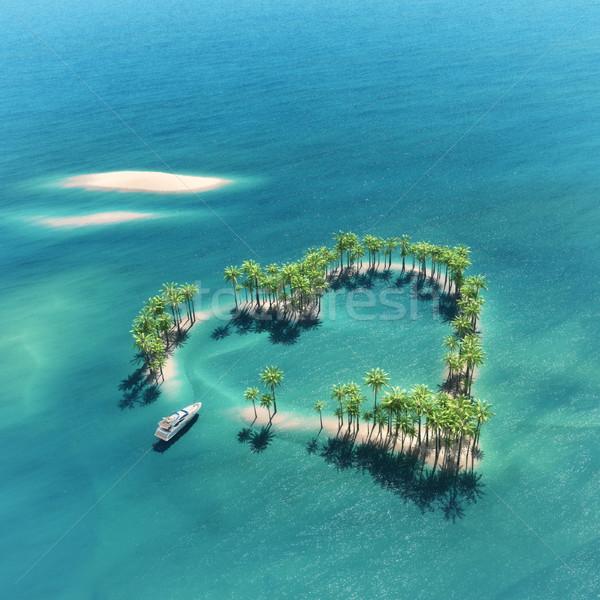 Trópusi sziget középső óceán csónak 3d render illusztráció Stock fotó © orla