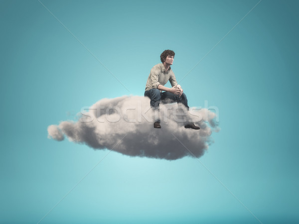 Surreal  image of a man sitting on a gray cloud Stock photo © orla