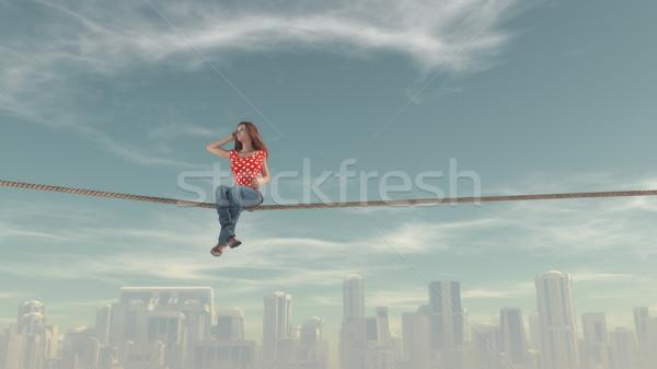 Afbeelding vrouw vergadering touw groot Stockfoto © orla