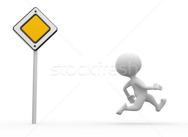 Assinar prioridade 3d pessoas homem pessoa estrada Foto stock © orla