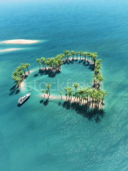 Tropisch eiland midden oceaan boot 3d render illustratie Stockfoto © orla