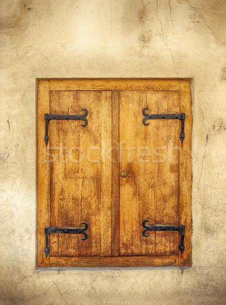Wooden window shutters closed Stock photo © orla