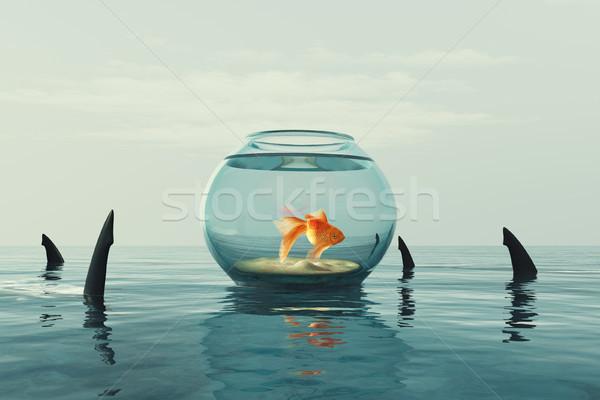 Goldfish aquarium rendu 3d illustration poissons Photo stock © orla