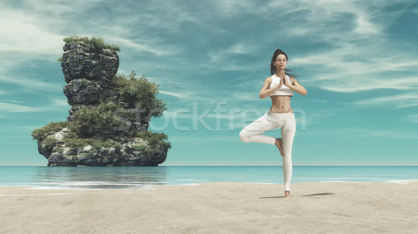 Foto stock: Silueta · yoga · mar · playa