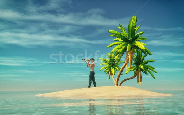 человека Тропический остров глядя океана 3d визуализации дерево Сток-фото © orla