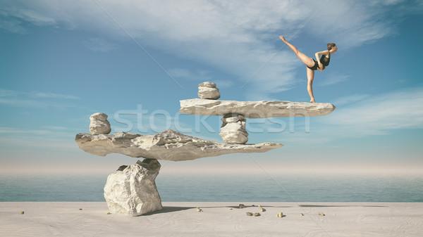 Fiatal tornász ül kövek balett egyensúly Stock fotó © orla